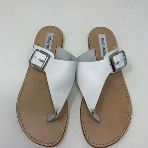 Steve Madden White Leather Clara Sandal Size 8